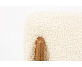 Chaise Marcel Gascoin modele C tapisse tissu Bergamo Bisson Bruneel beige edition Arhec 1950