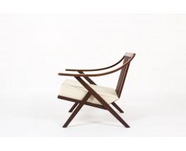 Fauteuil en acajou et coussin beige design italien 1950