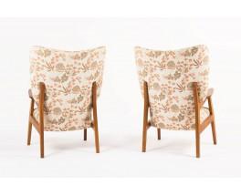 Fauteuils en chene tissu beige et rose pale 1950 set de 2