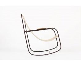 Rocking chair en metal patine et lin beige 1950