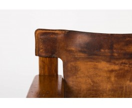 Fauteuil Bernt Petersen en pin et cuir patine marron design danois 1970