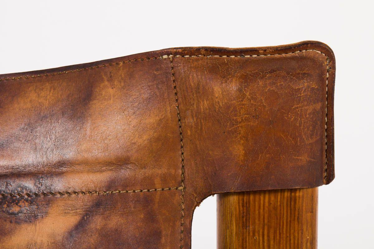Fauteuil Bernt Petersen en pin et cuir patine marron design danois 1970