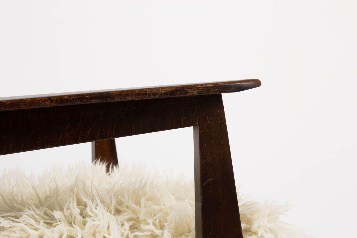 Fauteuils en hetre et tissu poil blanc imitation agneau de Mongolie 1950 set de 2