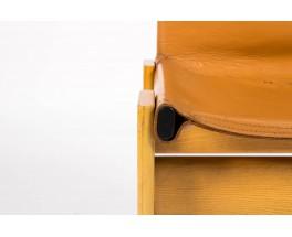Chaises Afra et Tobia Scarpa modele Monk cuir cognac edition Molteni 1970 set de 6