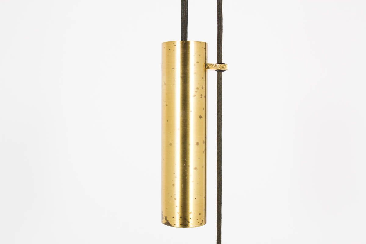 Suspension a contrepoids en laiton et placage de teck design danois 1950