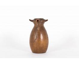 Pichet Artesania Raymon en ceramique et cuir marron design espagnol 1950