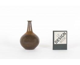 Vase Rudi Stahl Studio en gres marron col long 1970