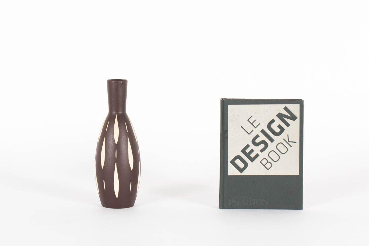 Vase Piesche & Reif en ceramique marron design allemand 1950