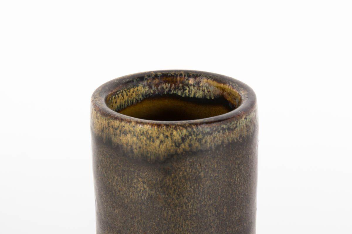 Vase rouleau Michel & Denise Pointu en ceramique marron 1960