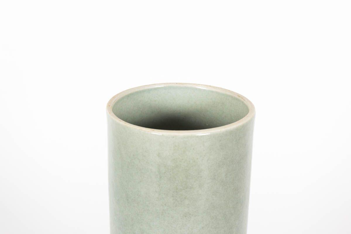 Vase rouleau en ceramique atelier Virebent vert d'eau 1970
