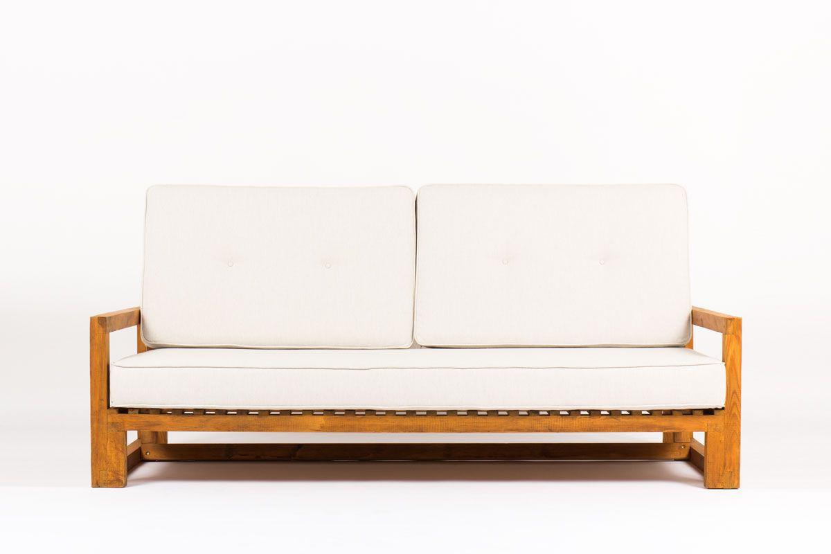 Canape en pin et coussin beige 1950