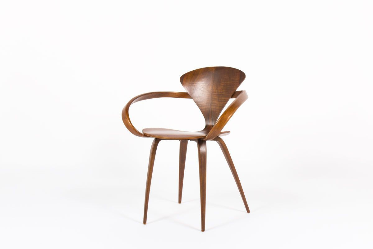 Vintage walnut armchair with rounded armrest, American ...