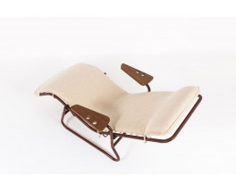 Chaise longue Jean Lesage metal bordeaux et assise beige edition Airborne 1950
