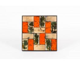 Table basse metal noir et plateau ceramique orange et beige 1950