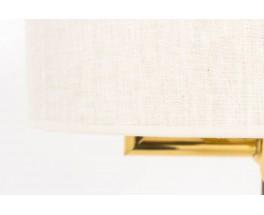 Suspension a contrepoids en metal dore et abat-jour tissu beige 1950