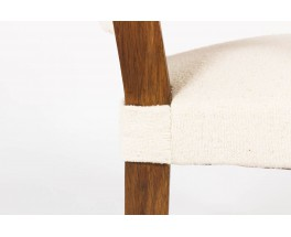 Fauteuils Francisque Chaleyssin en chene et lainage beige 1930 set de 4