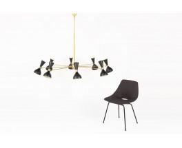 Lustre 8 feux en laiton et diffuseurs noirs design contemporain italien