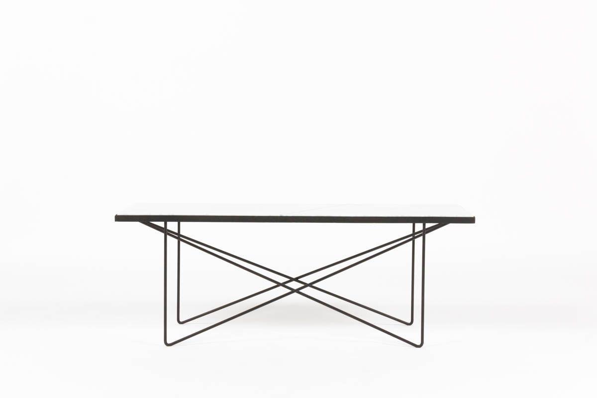 Table basse rectangulaire en métal noir et marbre de Carrare 1950
