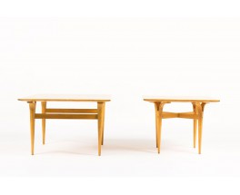 Tables basses Bruno Mathsson modele a pieds fendus en loupe de bouleau design suedois 1950 set de 2