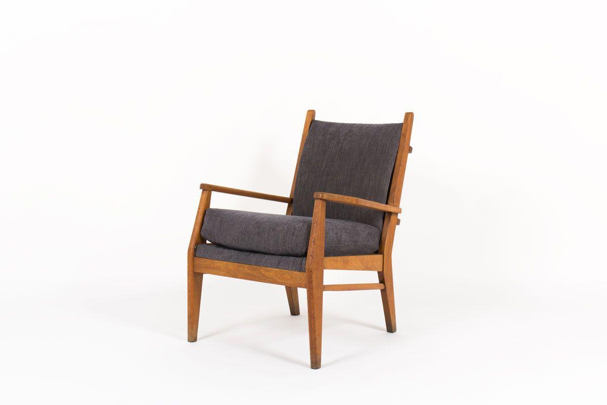 Fauteuil en hetre et velours avec mecanisme Free-Span 1950