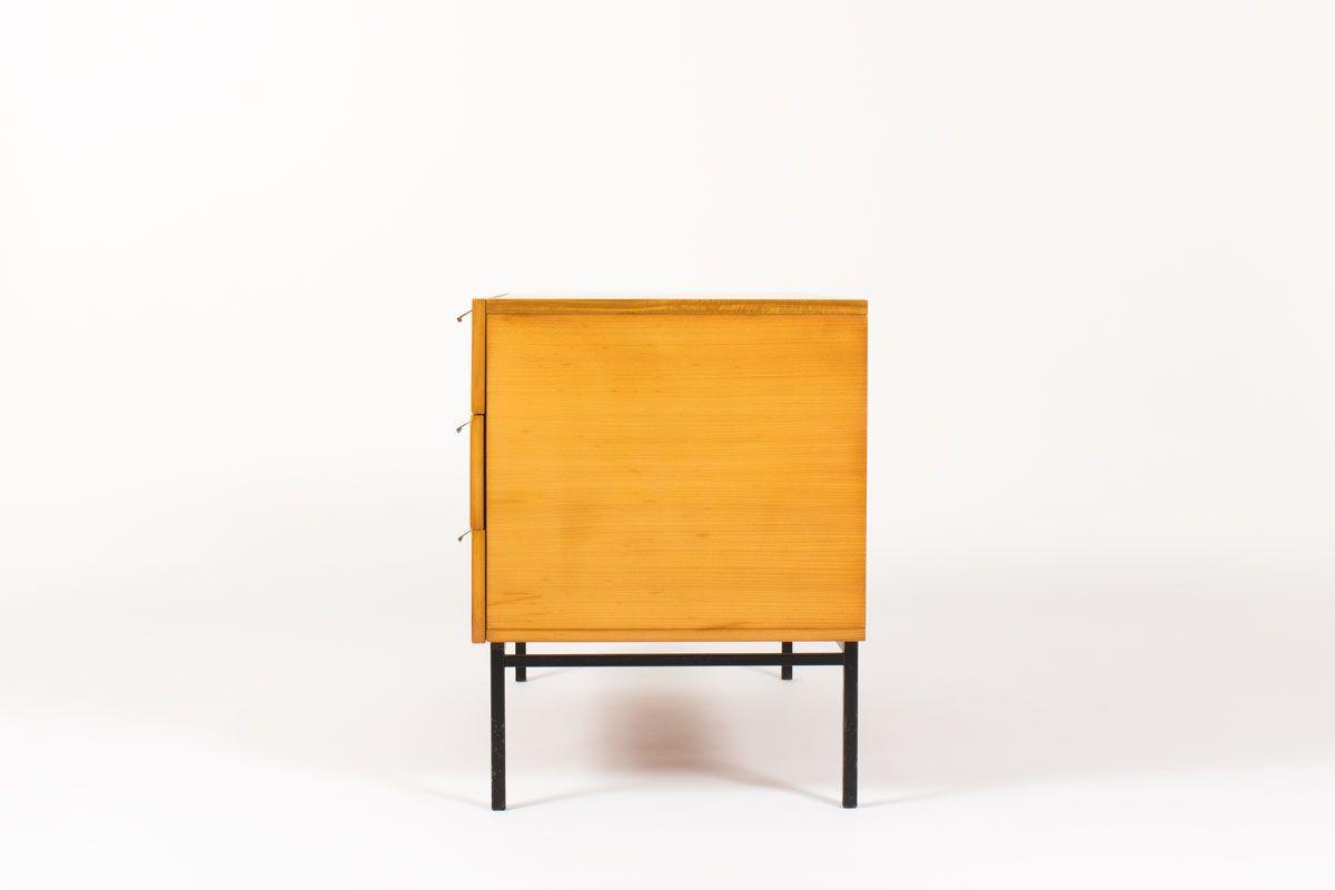 Commode Andre Monpoix modele 812 en acajou blond edition Meuble TV 1960