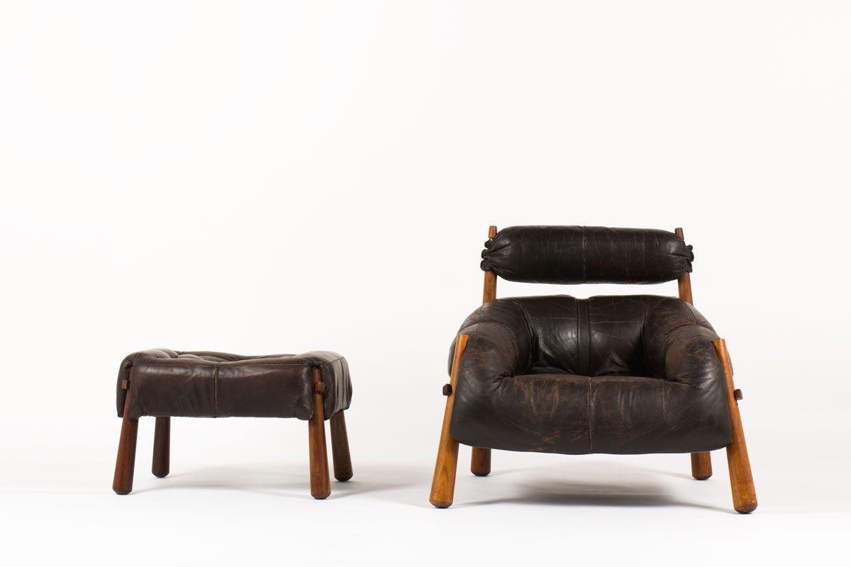 Fauteuil et repose pieds Percival Lafer en cuir marron 1950