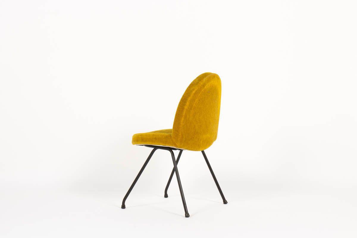 Chaises Joseph-Andre Motte modele 771 dit Langue velours jaune edition Steiner 1960 set de 4