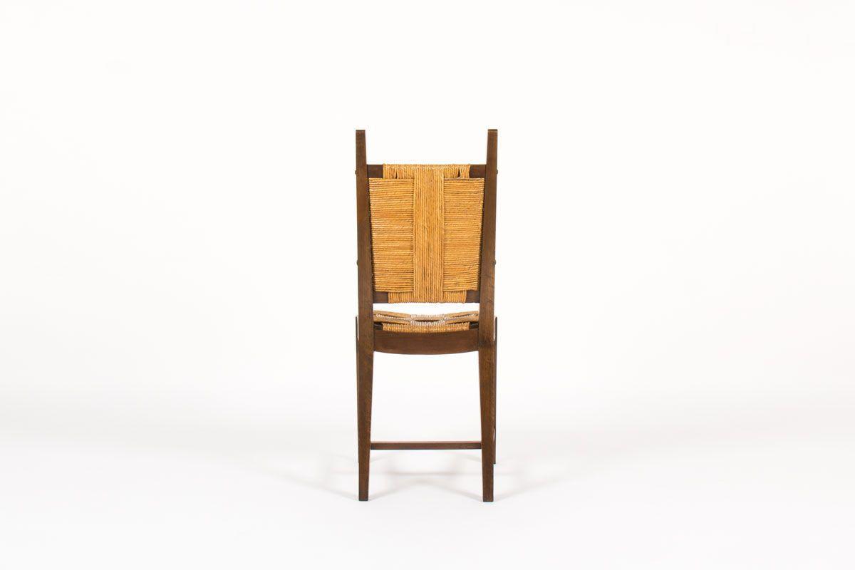 Chaises en noyer et assise en paille 1950 set de 6