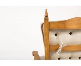Fauteuil et repose-pieds chene cire et lin beige 1950