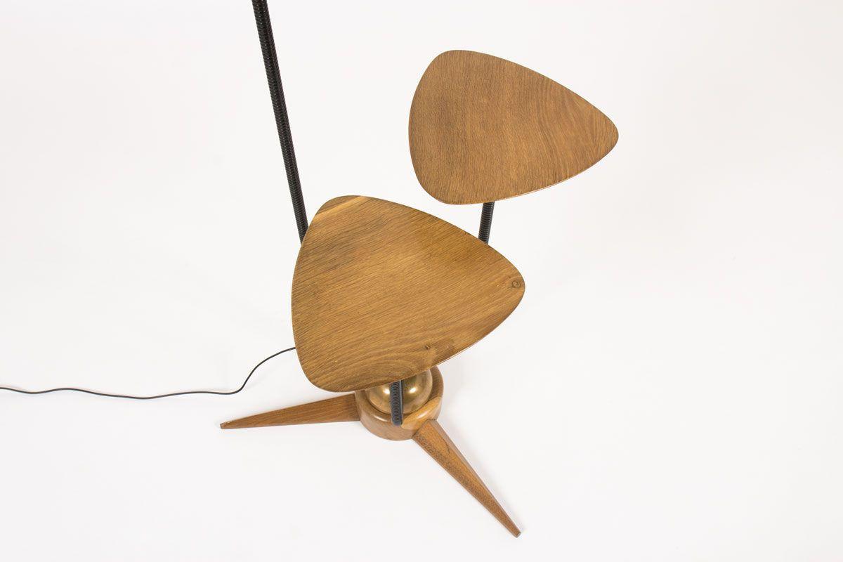 Lampadaire bois bronze et abat-jour diabolo 1950
