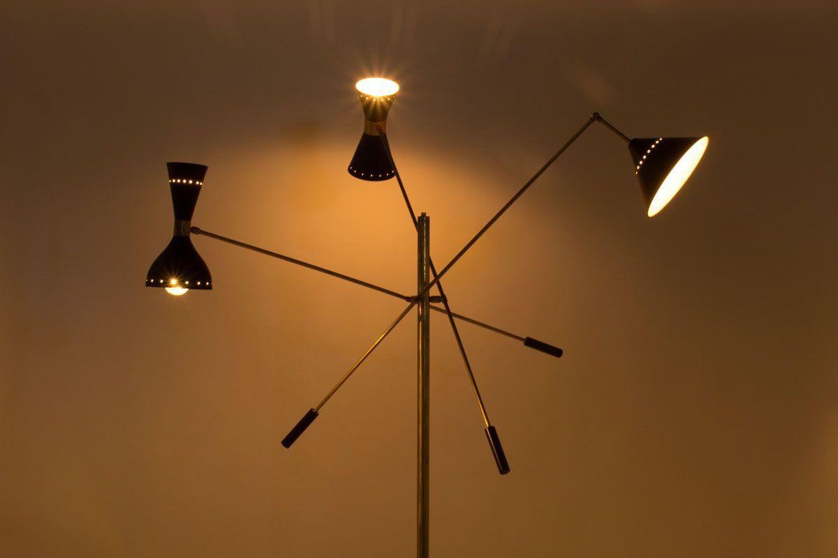 Floor Lamp In Br 3 Arms Black Diffusers Italian Contemporary Design