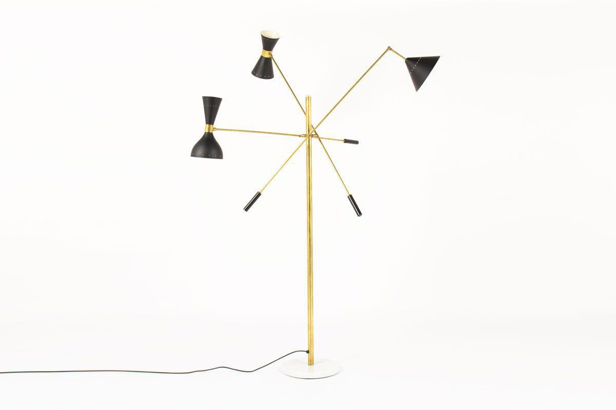 Contemporary Italian Lighting In Br And Black Lacquer