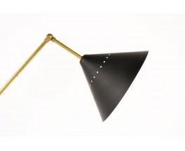 Lampadaire en laiton 3 bras diffuseurs noirs design contemporain italien