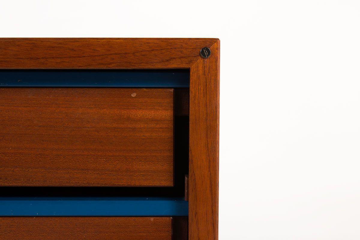 Meuble Andre Sornay 2 portes coulissantes en acajou avec tiroirs laque blanche et bleu 1950