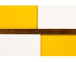 Meuble Andre Sornay hetre teinte laque blanche et jaune 1960