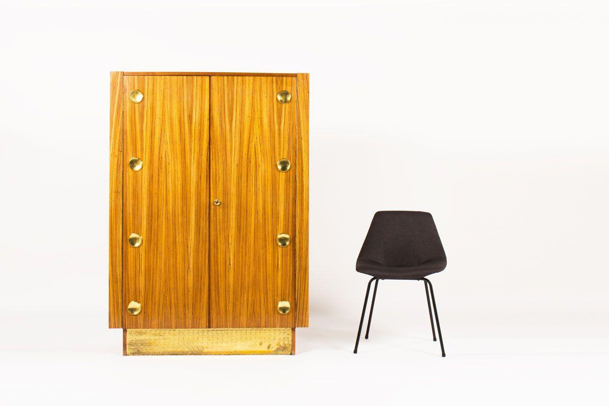Meuble penderie placage zebrano et laiton design Art Deco 1970