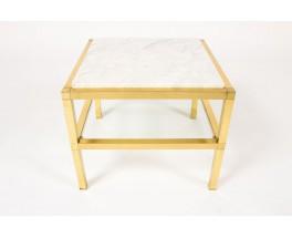 Bouts de canape modele carre laiton marbre de Carrare et verre 1970 set de 2
