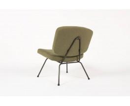 Chauffeuse et repose-pieds Pierre Paulin modele CM190 lin vert edition Thonet 1950