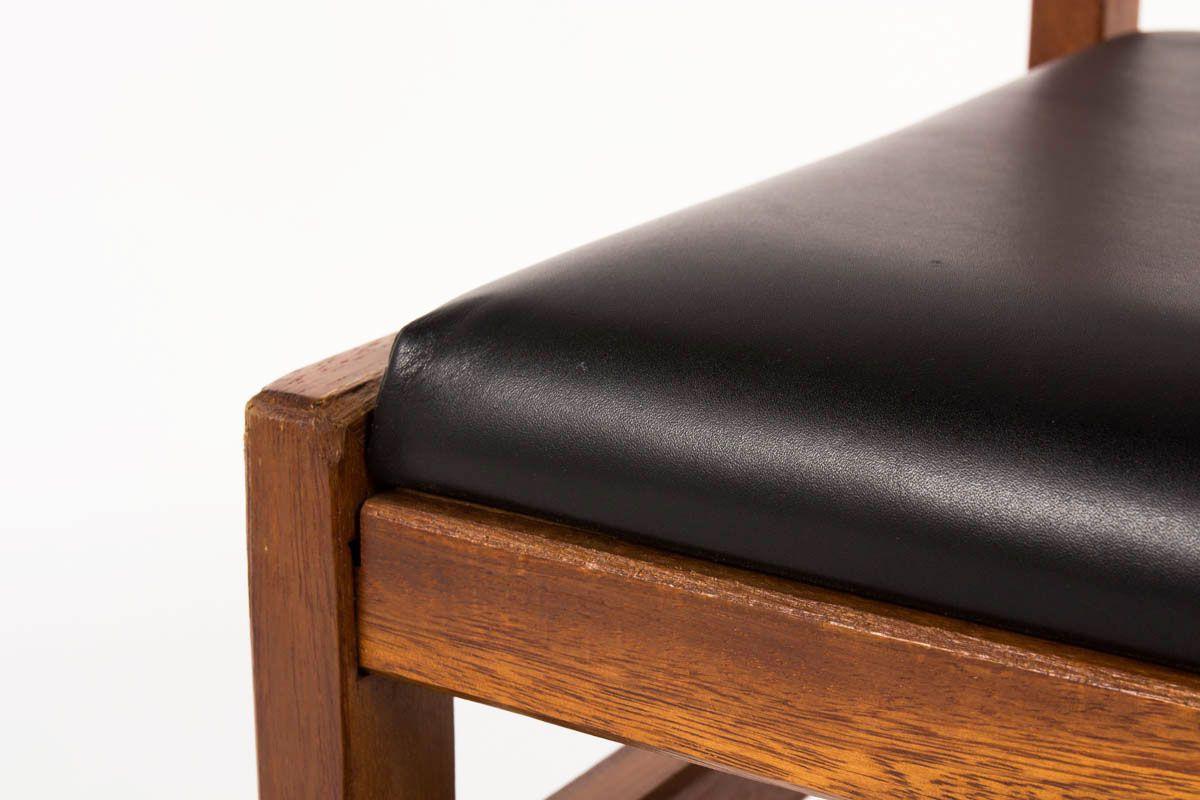 Bureau et chaise Andre Sornay acajou hetre et laque noir 1960
