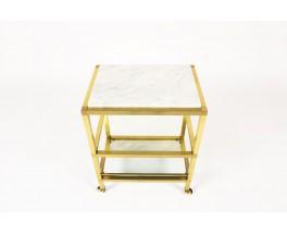 Desserte modele rectangulaire laiton marbre de Carrare miroir et verre 1970