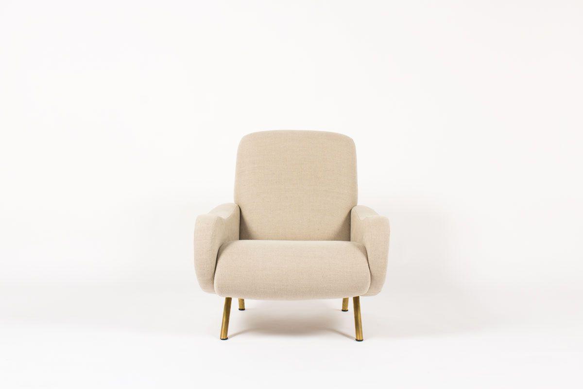 Fauteuil Marco Zanuso modele Lady lin beige edition Arflex 1950