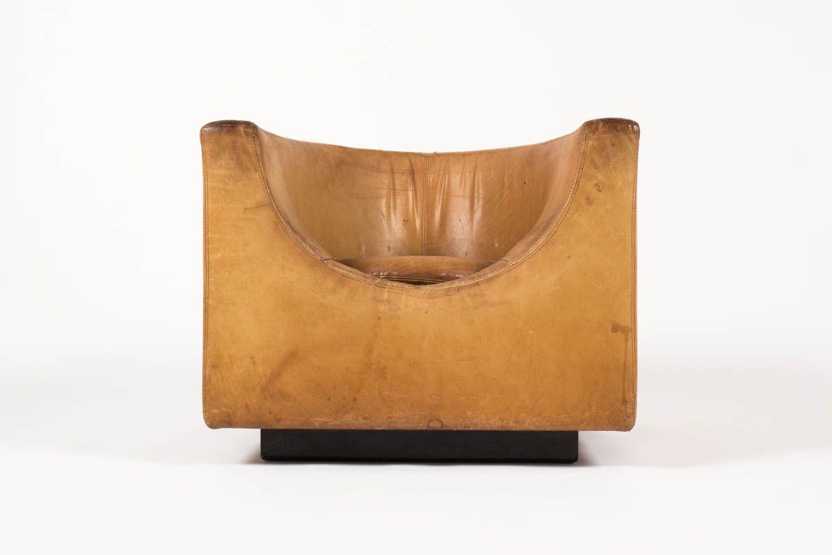 Fauteuil en cuir marron edition Saporiti Italia 1960