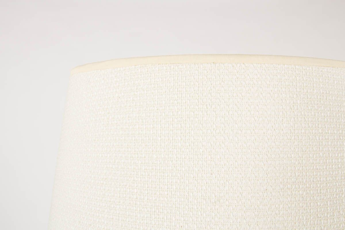 Lampadaire orme laiton et abat-jour tissu beige 1950