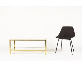 Table basse modele rectangulaire laiton marbre de Carrare et verre 1970