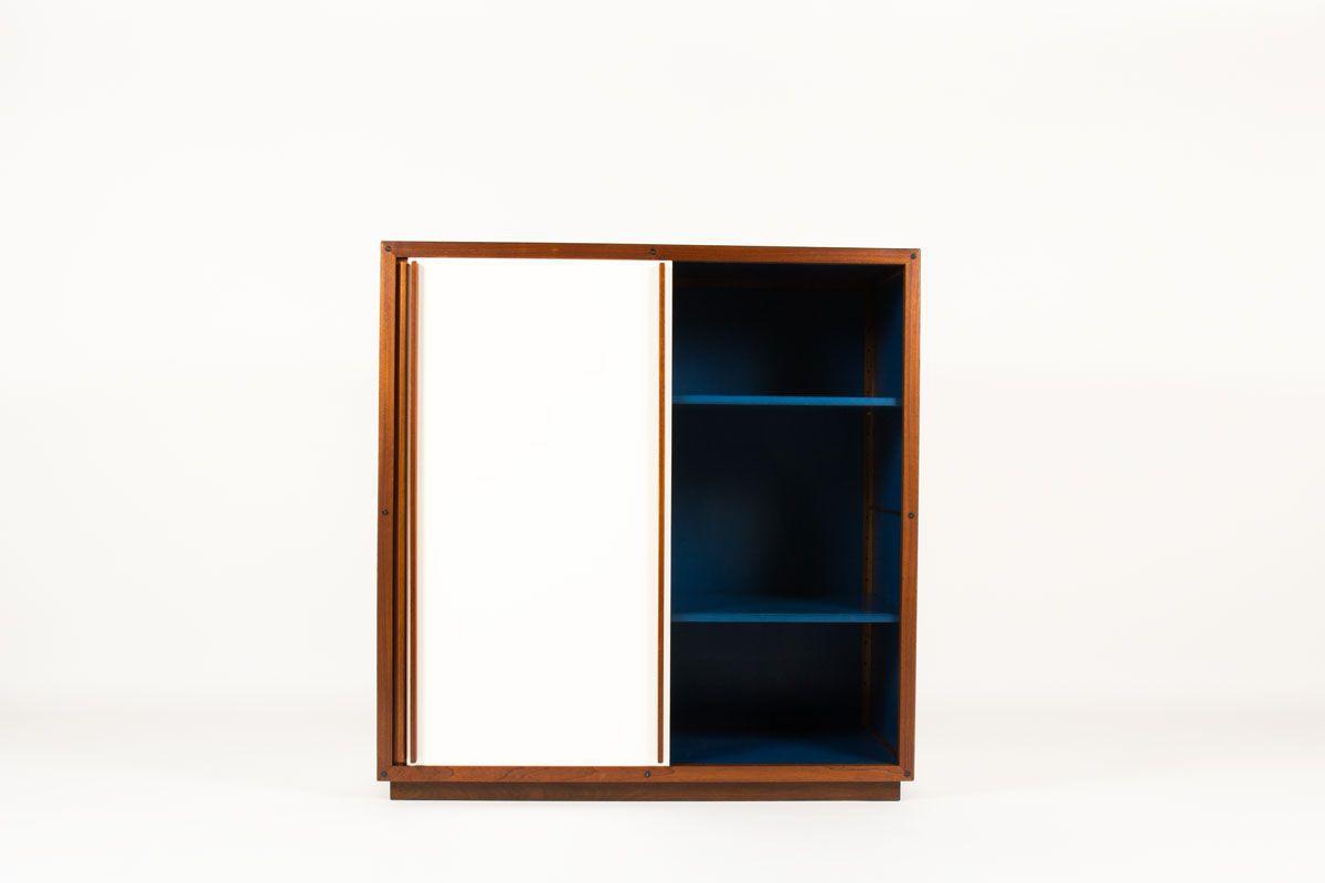 Armoire Andre Sornay modulable acajou laque blanche et bleue 1960