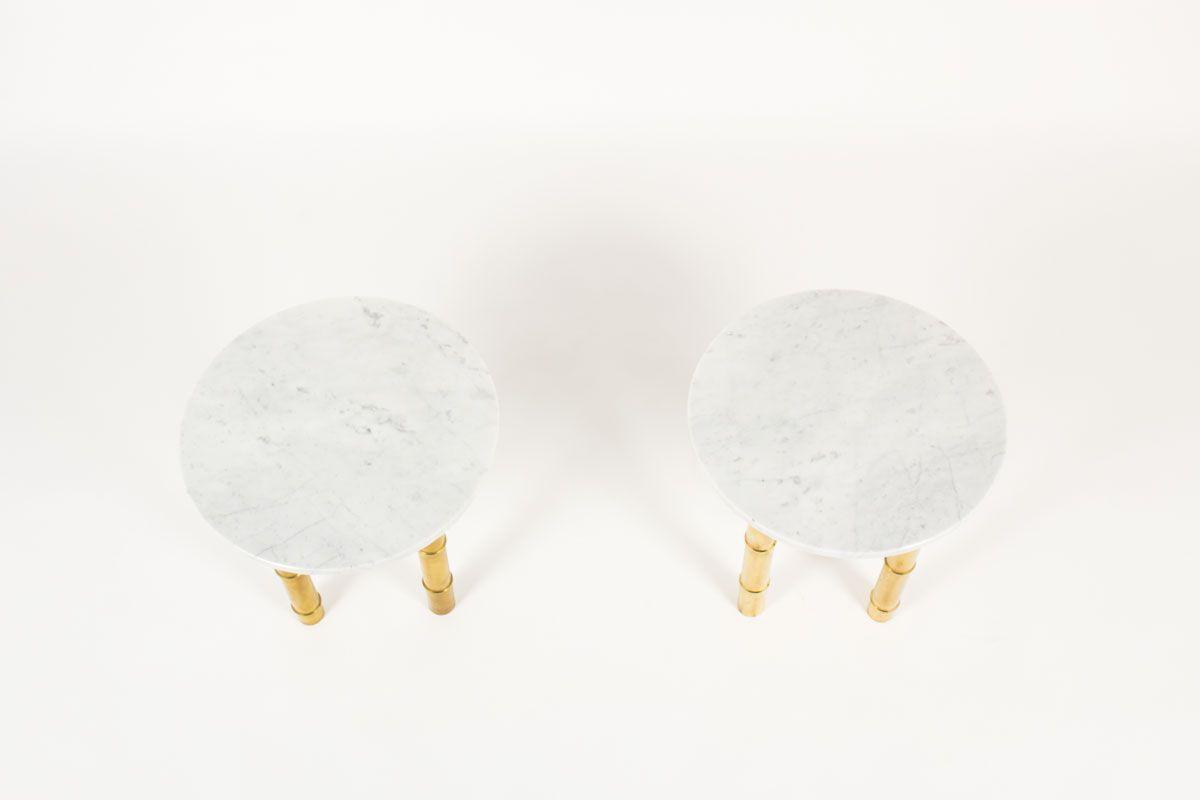 Bouts de canape contemporain pietement laiton bambou et plateau marbre de Carrare set de 2
