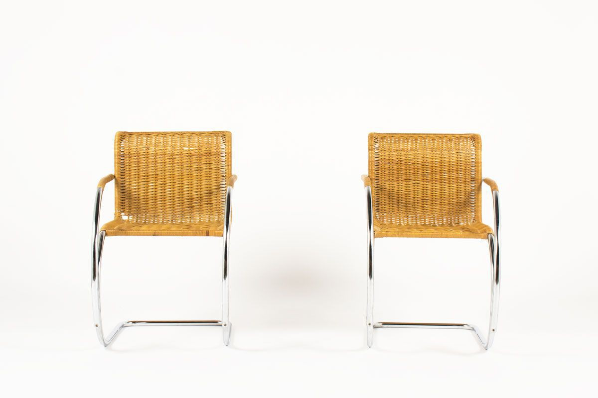 2 Prominent Fauteuils.Ludwig Mies Van Der Rohe Armchairs Model Mr20 Edition Knoll International 1980 Set Of 2