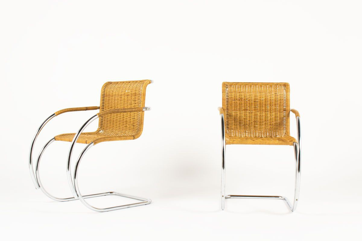 2 Prominent Fauteuils.Famous Mr20 Armchairs By The German Designer Mies Van Der Rohe