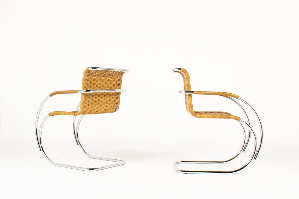 Fauteuils Ludwig Mies van der Rohe modele MR20 edition Knoll International 1980 set de 2