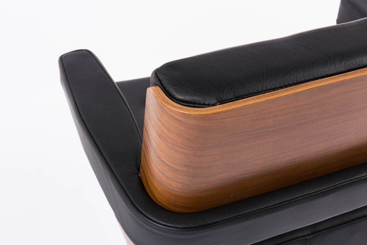 Fauteuil de bureau Alain Richard noyer et cuir noir 1970